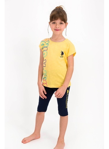 U.S. Polo Assn. Lisanslı Pembe Kız Çocuk Tayt Bermuda Takım Sarı